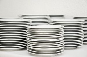 stack of dishes on a counter
